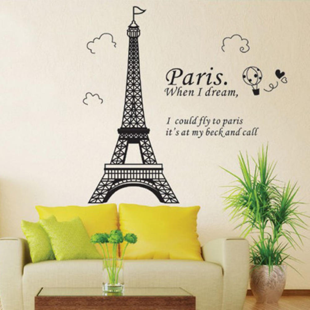 1pcs pvc removable romantic eiffel tower wall sticker window door 1pcs pvc removable romantic eiffel tower wall sticker window door closet art craft decal mural room home diy decoration in wall stickers from home garden amipublicfo Images