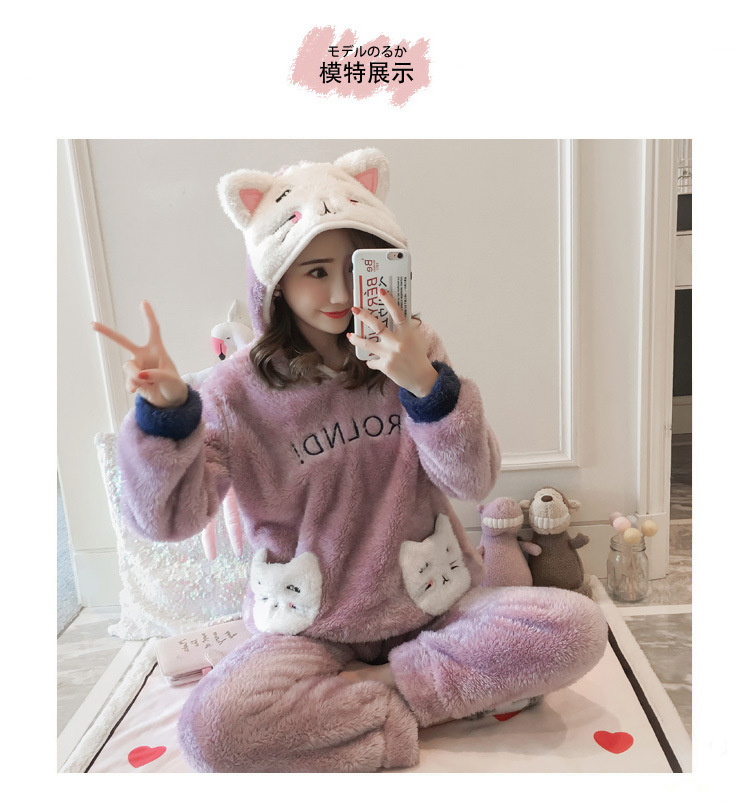 Winter Women Pajama Flannel Sleepwear Long Sleeves Hot Pajamas For Women Velvet Pajama Women Soft Clothing 94