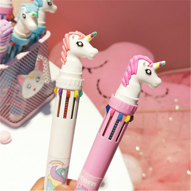 10 In 1 Colorful Kawaii Cartoon Dream Unicorn Ballpoint Pen Lovely Animal Multicolor Writing Ball Pens School 2