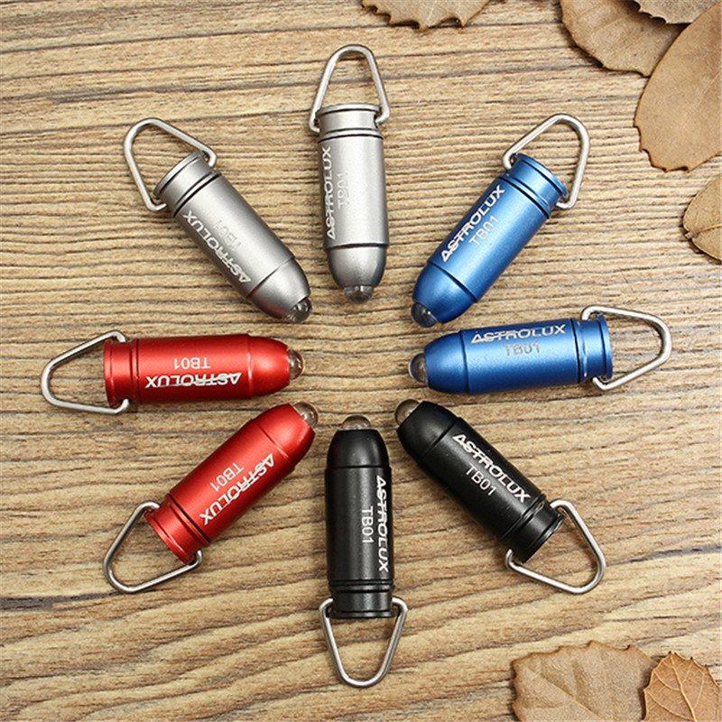 Elfeland Outdoor Lighting Store Astrolux TB-01 Bullet Aluminium Alloy 45LM Mini LED Keychain Flashlight led light mini camping key chain torch+3 x LR41 battery