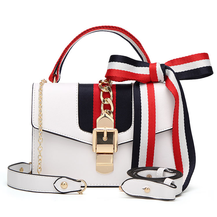 2018 New Women Bag European Style Fashion Crossbody Chain Bag with Ribbons and Scarves Flap Bag Shoulder цена