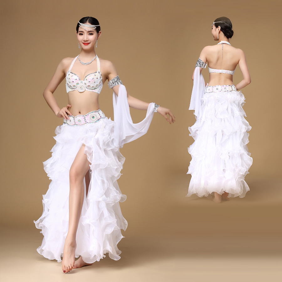 HOT SALE! NEW STYLE For Women Belly Dance Suit Beads Bra Top+belt+chiffon Skirt+arms +Earrings  7pcs Belly Dance Set S M L
