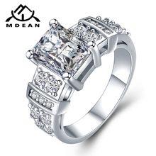MDEAN White Gold Color Engagement Rings 13# for Women Wedding Clear AAA Zircon Fashion Jewelry Bague Bijoux Size 5 6 7 8 9 10 12 mdean rose gold color ring purple stone aaa zircon jewelry for women engagement wedding fashion wholesale size 5 6 7 8 9 h083