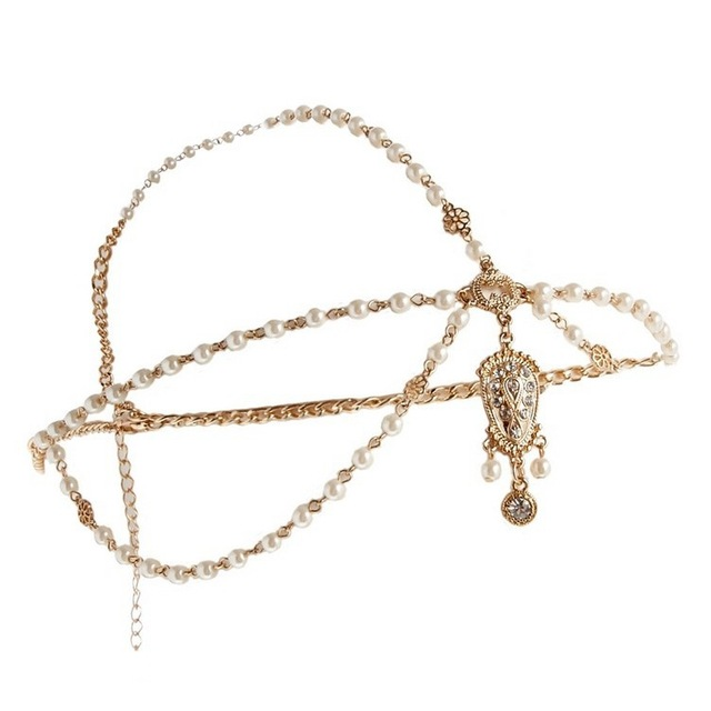 Boho Women's Simulated Pearl Tassel Bohemian Head Chain Jewelry Forehead Dance Headpiece Hair Jewelry Band Chains Hair Accessory