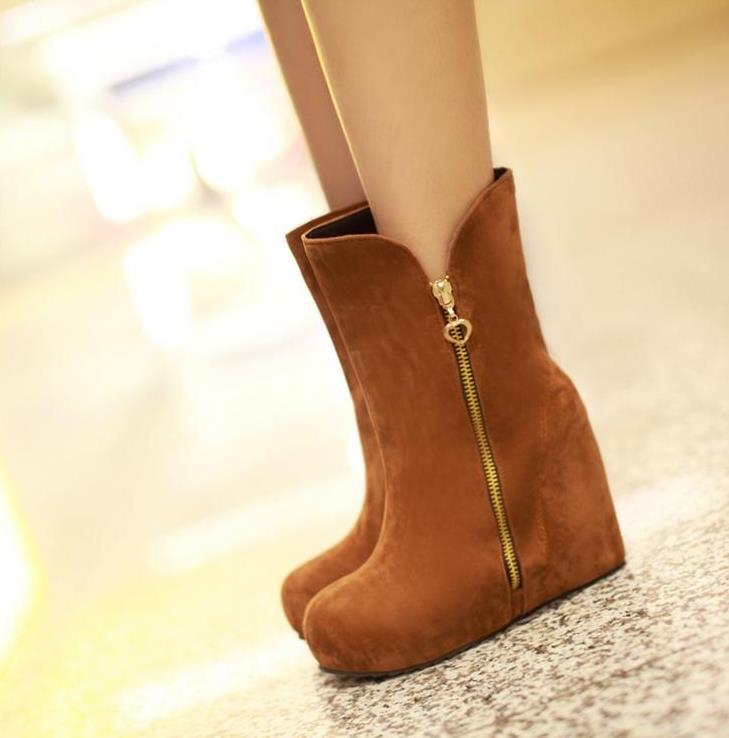 jaune bleu Et Dames Bottes Augmenté forme Hiver Noir De Wedge D'hiver Automne Chaussures Des Nu Plate Nouveau Femmes Chaussures 4qpUx5pT