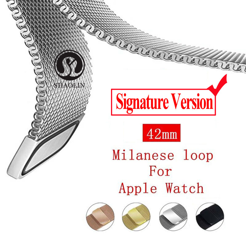 Signature Version Strap Milanese Loop Bracelet Stainless Steel band For Apple Watch Band 42mm Bracelet strap for i watch series