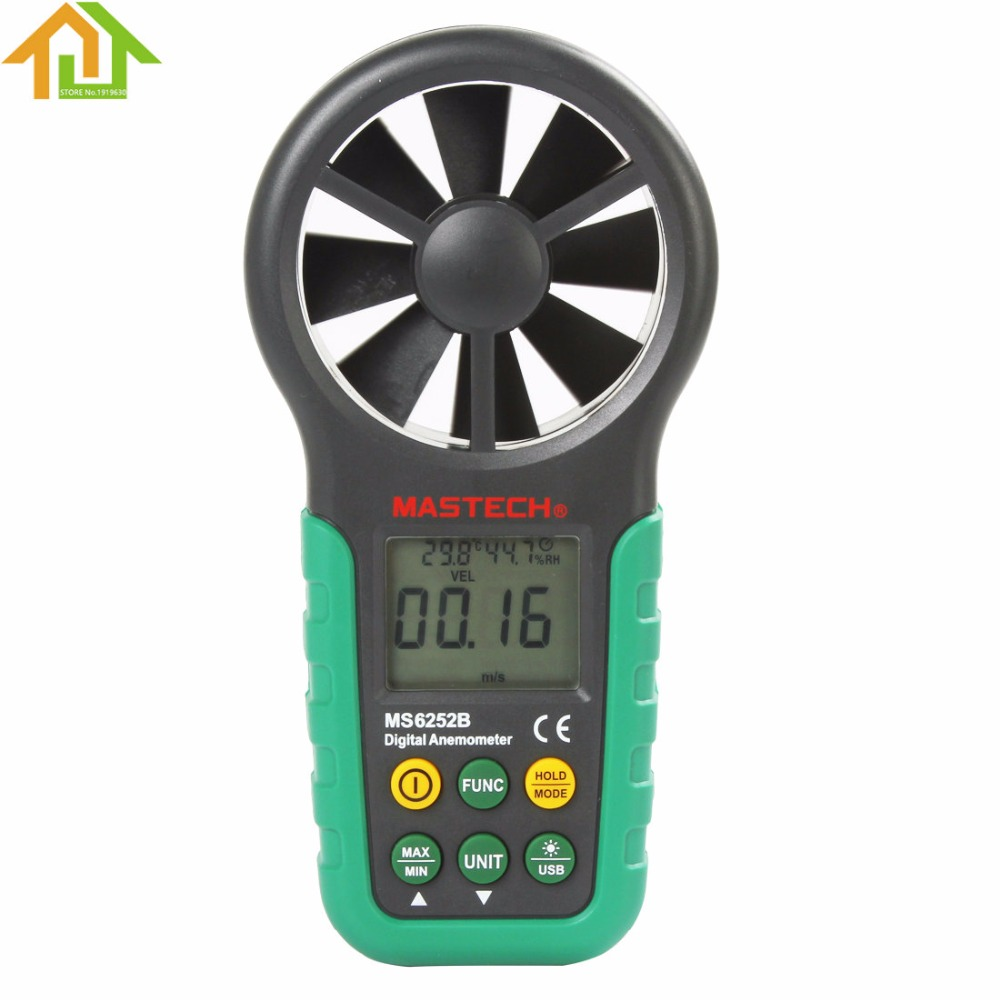 Handheld Digital Anemometer Mastech MS6252B Wind Speed Meter Air Flow Tester with USB Interface peakmeter ms6252b digital anemometer air speed velocity air flow meter with air temperature humidity rh usb port