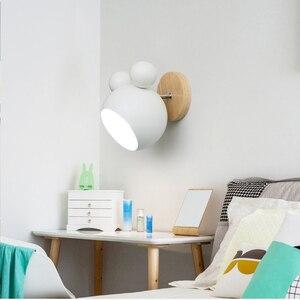 Image 4 - נורדי עץ קיר מנורות חמוד coloful קיר פמוטים מטבח מסעדה מקרון המיטה דקורטיבית מנורת E27