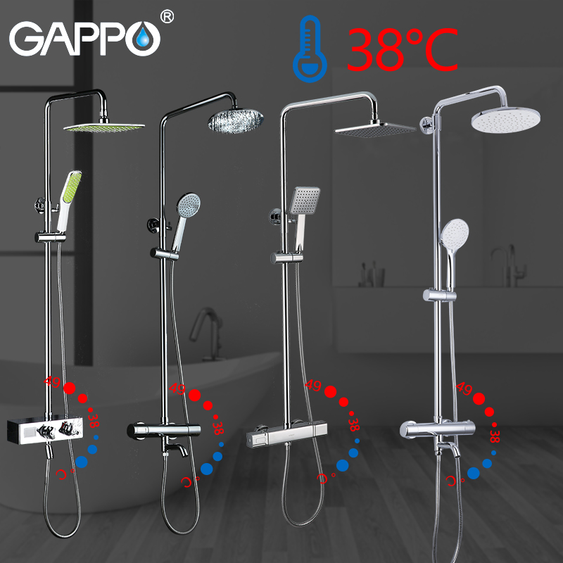 GAPPO Shower System bathroom thermostatic shower faucet bath shower mixer tap set waterfall bathtub faucet rain