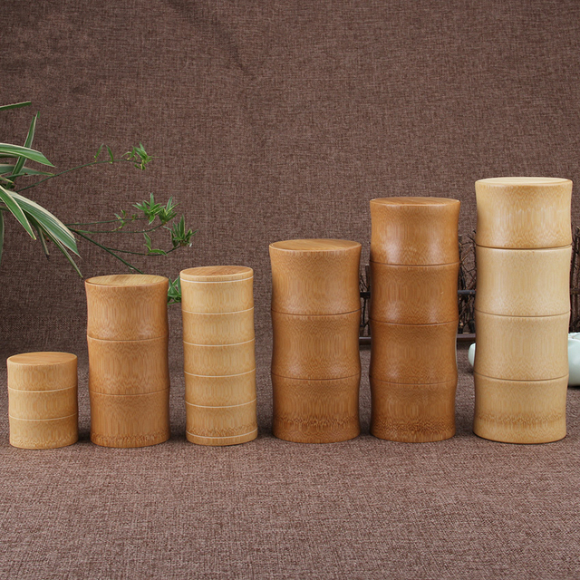 Bamboo Storage Bottles Kitchen Tea Container Jar Cans Case Organizer Spice Round Caps Seal Box Canister For Bulk Products 2