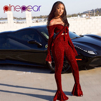 PinePear 2019 Luxury Sparkly Diamond Flare Sleeve Flare Pants Jumpsuit Women Club Wear 2 Piece Set Party Suit Matching Outfits