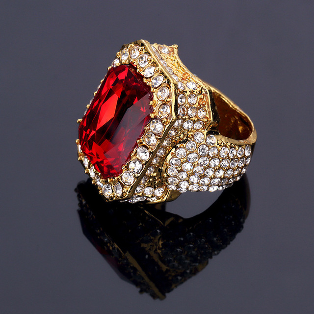 Kings pauper Fashion Big Red Rhinestone Hip Hop Bling Bling for Men women  Gold-color Rings Rock Jewelry Gifts Box 56b5b2622