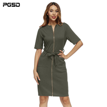 PGSD New Spring summer Simple pure color Women clothes Short sleeve zipper strap Double pocket V collar sexy short Dress female