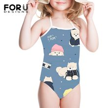1348927c82b27 FORUDESIGNS Kawaii Bear Printed One Piece Swimsuit for Girls Children's  Bathing Suit Baby Girl Swimwear Swim
