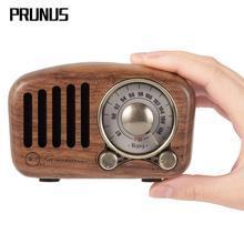 Mini receptor de rádio prunus J 919, retrô, clássico, portátil, madeira, fm, sd, rádio mp3, estéreo, bluetooth, alto falante aux usb, recarregável