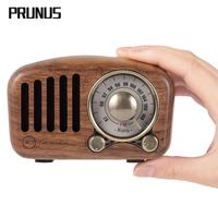 PRUNUS J 919 Classical retro radio receiver portable mini Wood FM SD MP3 Radio stereo Bluetooth Speaker AUX USB Rechargeable