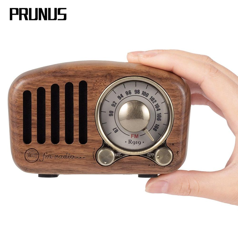 PRUNUS J-919 Classical Retro Radio Receiver Portable Mini Wood FM SD MP3 Radio Stereo Bluetooth Speaker AUX USB Rechargeable