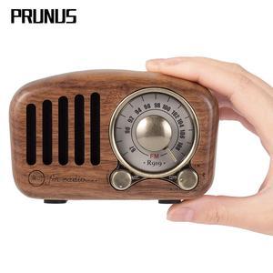 Image 1 - PRUNUS J 919 klasik retro radyo alıcısı taşınabilir mini ahşap FM SD MP3 radyo stereo bluetooth hoparlör AUX USB şarj edilebilir