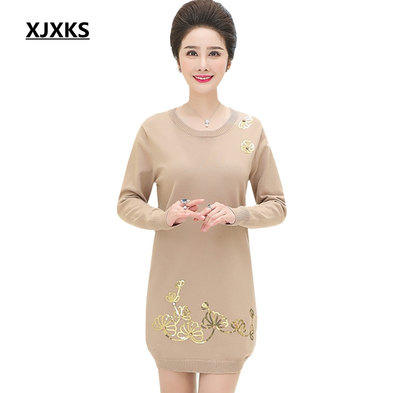 XJXKS 2019 Autumn And Winter Women Sweaters And Pullovers Middle aged Printing Casual Long Sweater Large