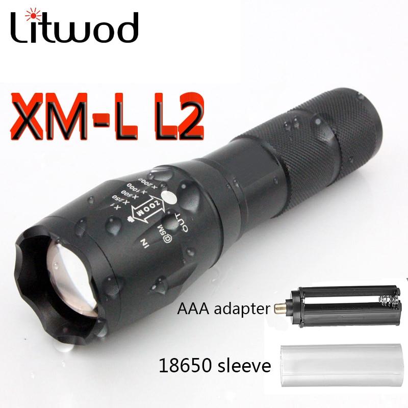 Litwod A10025 XM-L L2 5000LM Impermeabile di Alluminio Zoomable CREE LED Torcia flashlight luce per 18650 Batteria Ricaricabile o AAA
