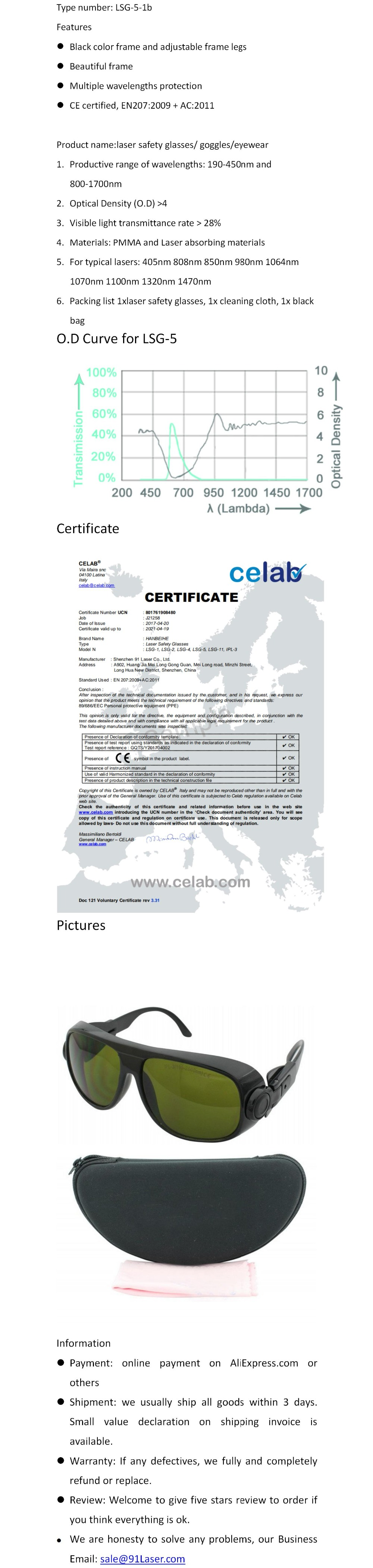Очки для защиты от лазерного излучения для 190-450nm и 800-1700nm 405nm 808nm 860nm 980nm 1064nm 1320nm 1470nm лазеры CE