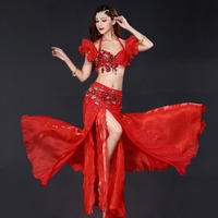 2019 New Women Oriental Belly Dance Clothes Beaded Bra B Cup Long Skirt Egypt Belly Dance Costume Set Bra Belt Skirt