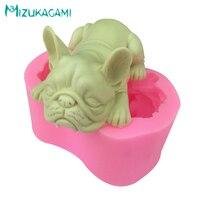 3D Cute French Bulldog Mold Fondant Silicone Mold Mousse Ice Cream Mold Kitchen Baking Tools Cake Decorating Mold MJ 01349