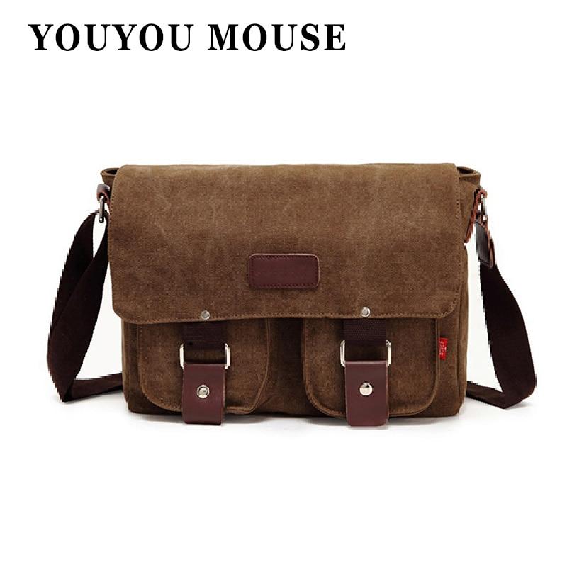 YOUYOU MOUSE Canvas Bags Vintage Messenger Bags Men's Shoulder Bag Multifunctional Casual Fashion School Bags Men Crossbody youyou mouse 1pc fashion men