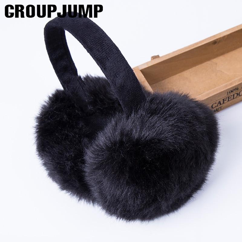 Fashion Rabbit Fur Earmuffs For Women Winter Earmuffs Warm Fur Headphones Ear Warmer Ear Cover For Girls Solid Color Earmuffs