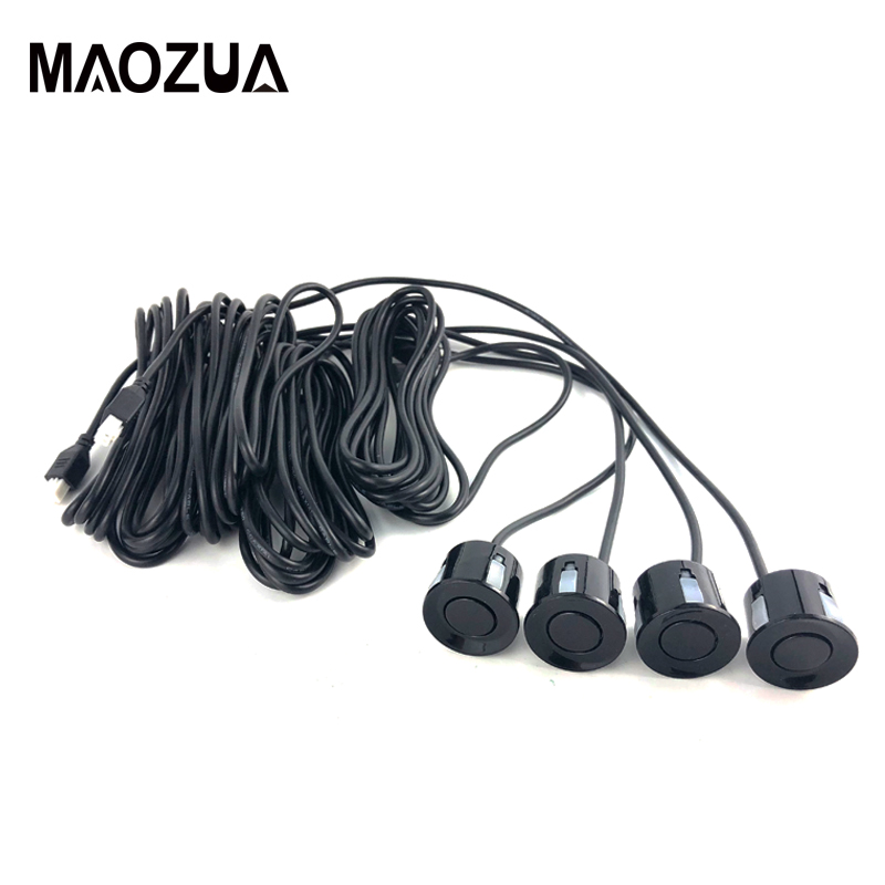 Car Electronics Black 4 Sensors Buzzer 22mm Car Parking Sensor Kit No Drill Hole Saw Reverse Radar Sound Alert Indicator System In Pain