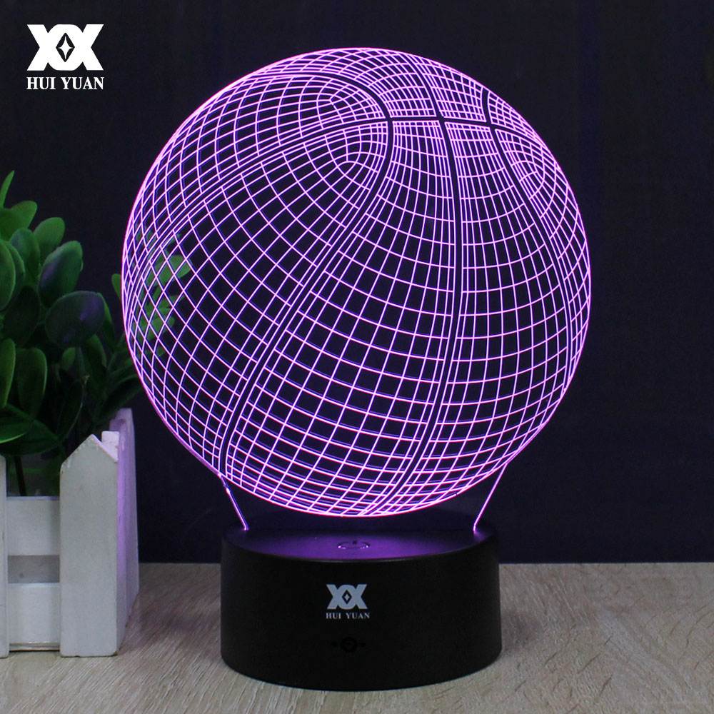 Basketball 3D Lamp LED 7 Color Remote Control Night Light USB Novelty Decoration Table Lamp Creative
