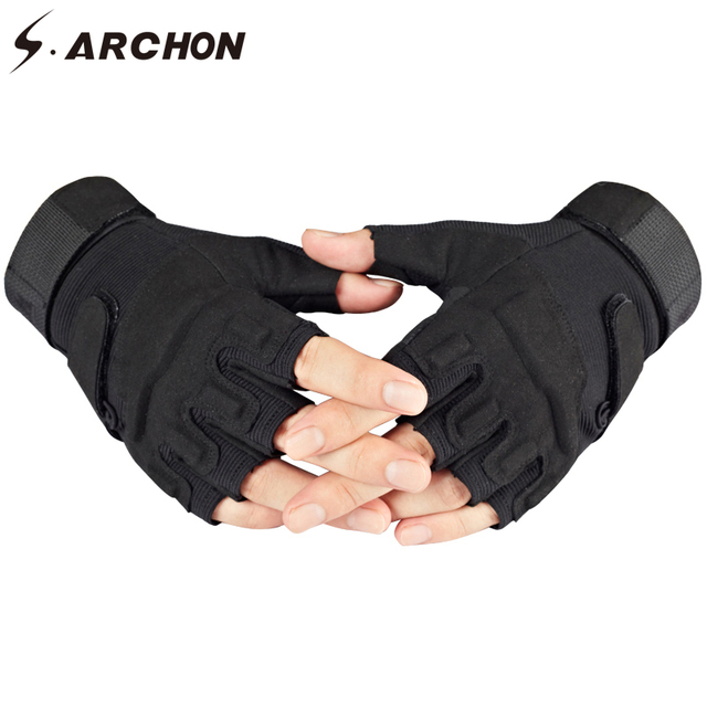S.ARCHON US Army Tactical Fingerless Gloves Men Anti-Skid Half Finger Military Shooting Mittens Male SWAT Fighting Combat Glove 2