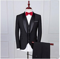 Fashion Black 3 Pieces Groom Tuxedos Men Suits One Button Wedding Suits for Men Groomsman Suits (Jacket+Pants+vest+tie)