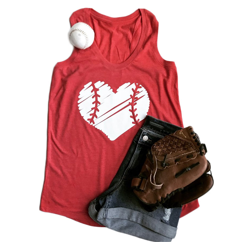 3 Color Women Tank Tops Baseball Heart Print O-Neck Casual Sleeveless Top Summer Loose Fashion 2017 Tee Pretty Ladies Top