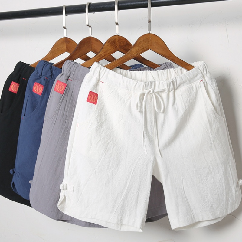 Summer Cotton White , Men's Big Code, Casual Five-time Pants, Chinese Style Sports Beach  Big , Thin