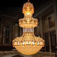 Large LED Modern Cyrstal Chandelier Lustre K9 Gold Crystal Chandelier Lighting Upscale Royal Chandeliers Hotel Villa