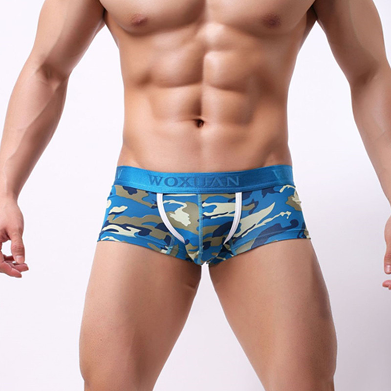 WOXUAN Fashion Big Penis Pouch Boxers Camouflage Print Men Casual  Shorts Gay Male Underwear Underpants