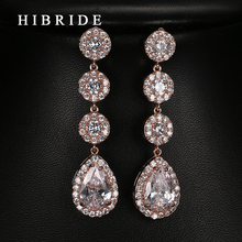 HIBRIDE Wedding Gifts High Quality AAA Cubic Zircon Drop Earrings Rose Gold/white Gold /Gold Plated Earrings E-62 hibride fashion water drop shape high quality cubic zircon drop earring beauty white gold color brincos earrings for girl e 784