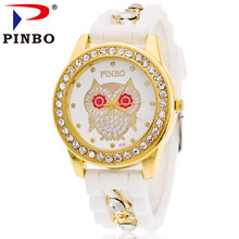 New Fashion Brand PINBO Gold Alloy Chain Owl Casual Quartz Watch Women Crystal Silicone Watches