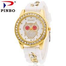 Nouvelle Marque De Mode PINBO Or Alliage Chaîne Hibou Casual Quartz Femmes Cristal Silicone Montres Relogio Feminino Horloge Vente Chaude
