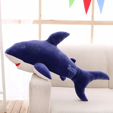 stuffed plush toy large 100cm carton blue shark soft throw pillow birthday gift b0587(China)