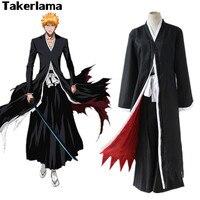 Takerlama Bleach Anime Costume Kurosaki Ichigo Fancy Cloak Coat Mens Boy Halloween Party Cosplay Costume Japanese