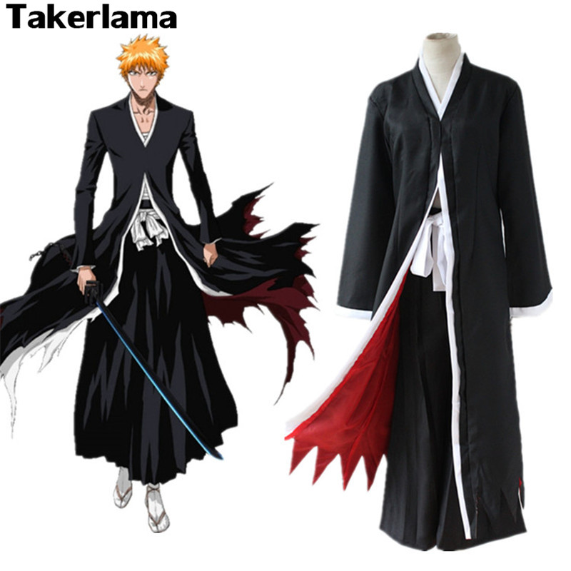 Takerlama Bleach Anime Costume Kurosaki Ichigo Cloak Coat Mens Boy Halloween Party Cosplay Costume Japanese Clothing