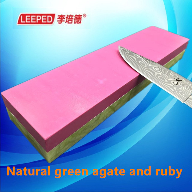 Leeped 10000/3000 Grit Double Sides Professional Natural Green Agate And Ruby Knife For Sharpener Whetstone Sharpening Stones