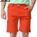Hombres Pantalones Cortos Hasta La Rodilla Recta Cremallera Pantalones Cortos Bermuda masculina Más El Tamaño 2017 de La Marca de Moda Casual Blanco Negro Verde Rojo Y1030
