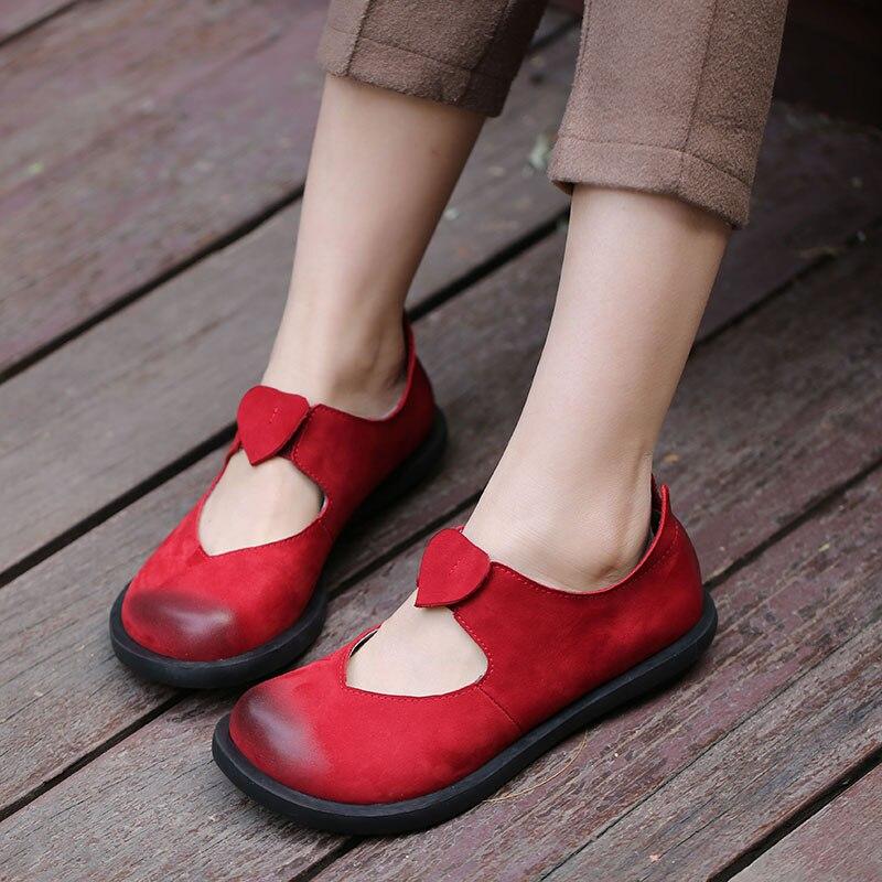 2018 printemps fait à la main Vintage femmes appartements vache daim cuir bout rond confortable femmes chaussures rouge noir café