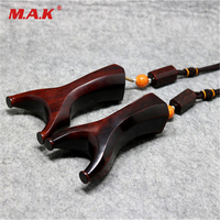 High Quality 2 Style Ebony Black Tan Wooden Slingshot Rosewood Recurve Octagon Flat Rubber Band Wooden Slingshot for Hunting
