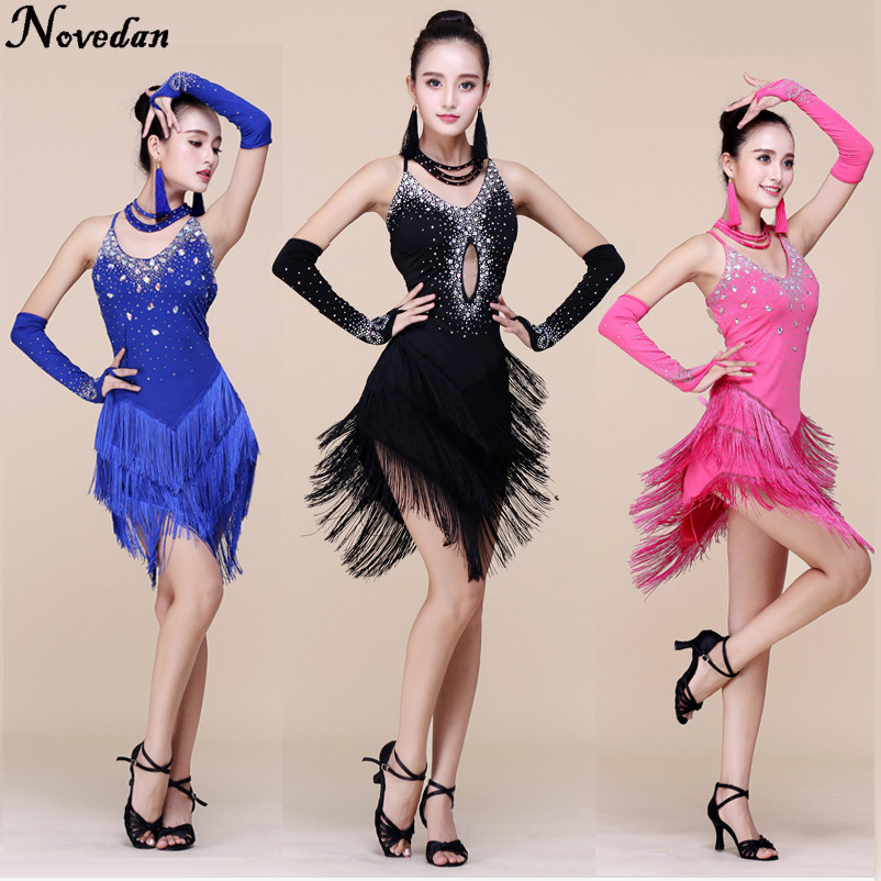 Hot Sexy Stage Women Lady Latin Dance Dresses Costume Sequin Fringe Performance Party Samba Cha Cha Club Dress Wear