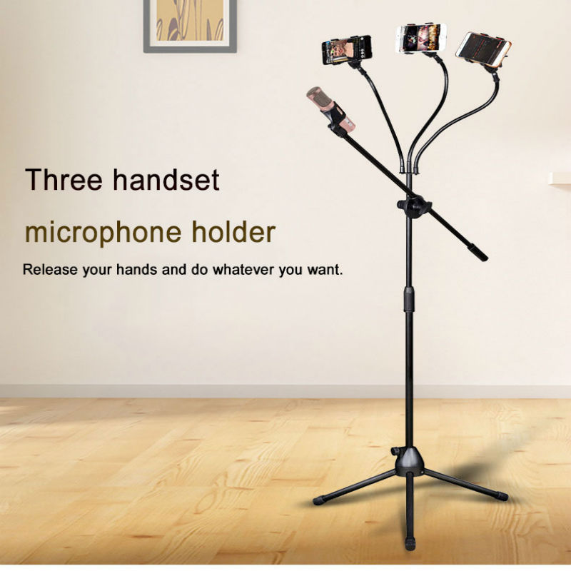Three Adjustable Floor standing Tripod Foldable Microphones Stand Holder Desktop Clip Shock Mount Mic Stand For