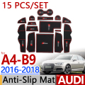 for Audi A4 B9 2016 2017 2018 Anti-Slip Rubber Cup Cushion Door Mat 15pcs/set Accessories Car Styling Sticker